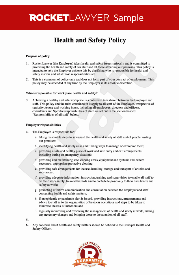 Company Safety Policy Template Best Of Free Health and Safety at Work Policy Template Line