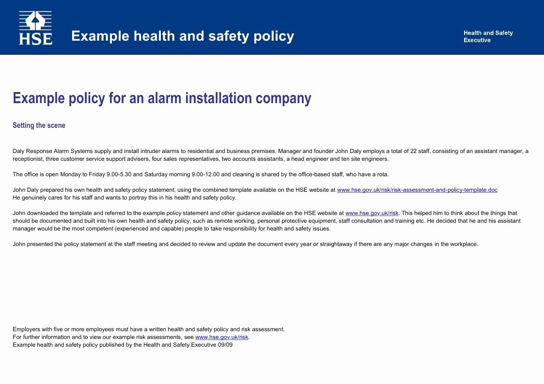 Company Safety Policy Template Lovely Health and Safety Implications