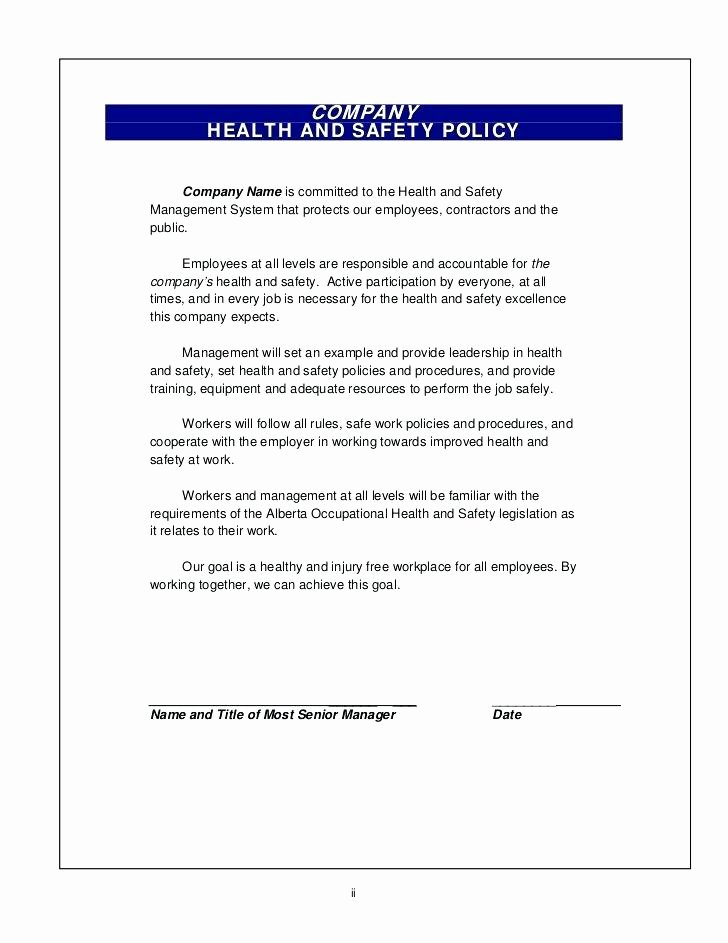 Company Safety Policy Template Lovely Pany Safety Policy Template