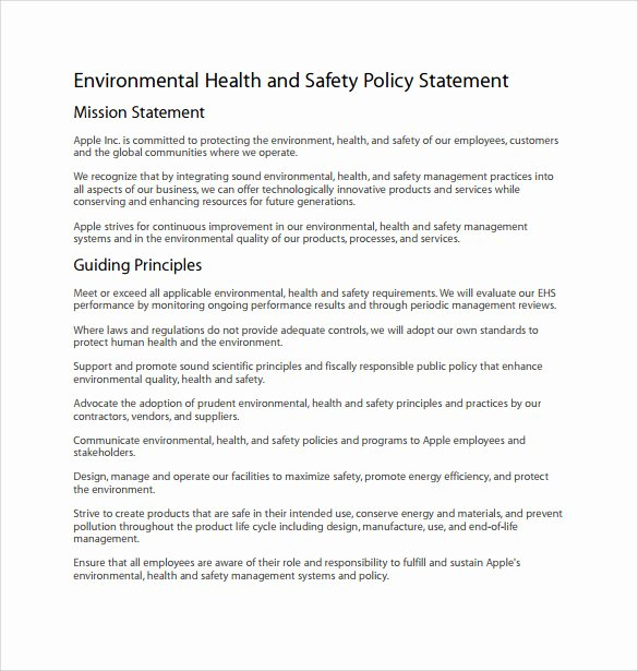 Company Safety Policy Template Luxury 11 Sample Health and Safety Policy Templates