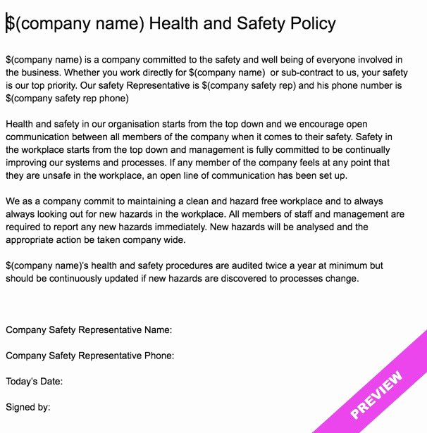 Company Safety Policy Template Unique Pany Health and Safety Policy Statement Template