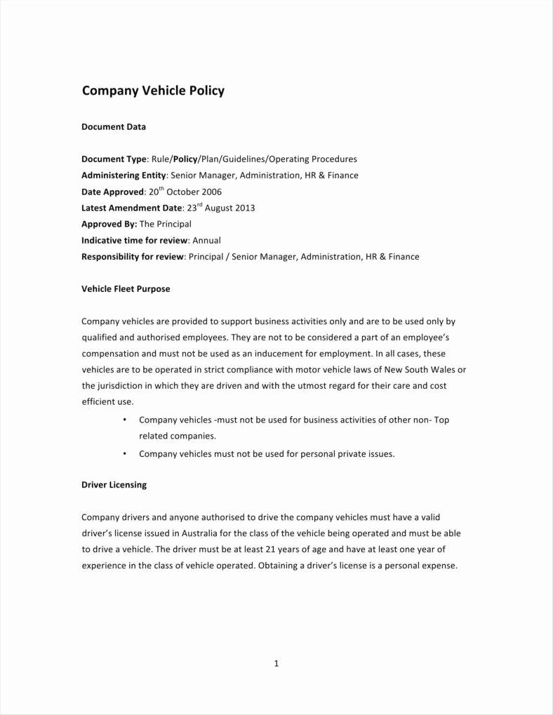 Company Vehicle Policy Template Awesome 26 Policy Template Samples Free Pdf Word format
