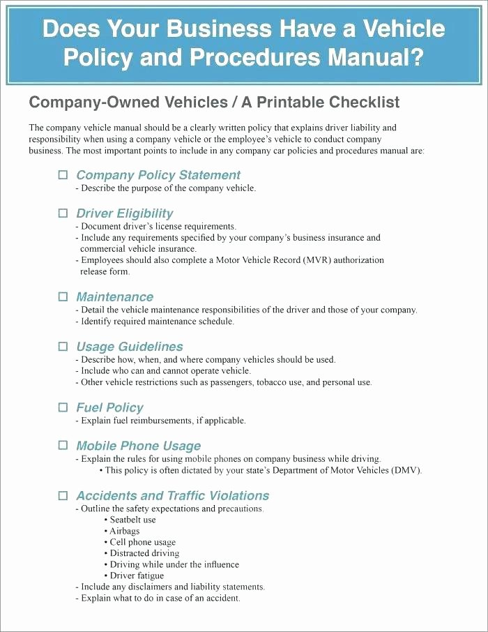 Company Vehicle Policy Template Awesome Driving at Work Policy Template Motor Vehicle Policy