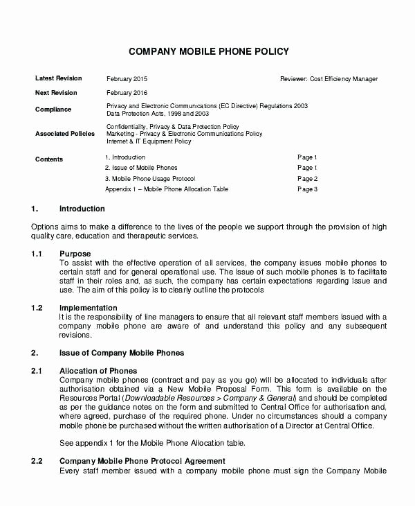 Company Vehicle Policy Template Elegant Pany Car Policy Template Letterhead New 9 Cell Phone