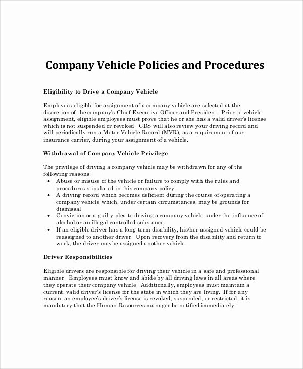 Company Vehicle Policy Template Elegant Pany Policy Template 14 Free Pdf Documents Download