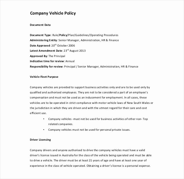Company Vehicle Policy Template Lovely 27 Different Types Of Free Policy Templates