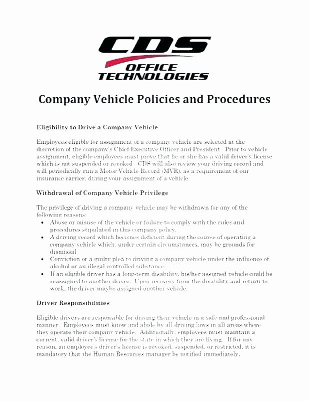 Company Vehicle Policy Template Unique Employee Driving Policy Template – Vungtaufo