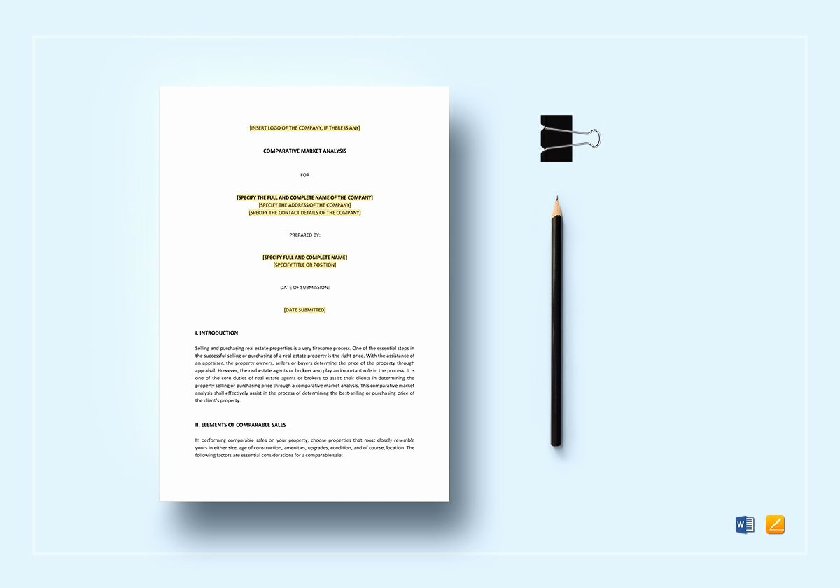 Comparative Market Analysis Template Lovely Parative Market Analysis Template In Word Apple Pages