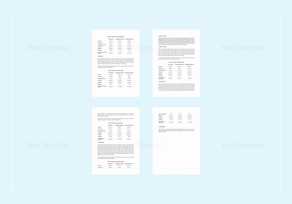 Comparative Market Analysis Template New Parative Market Analysis Template In Word Apple Pages
