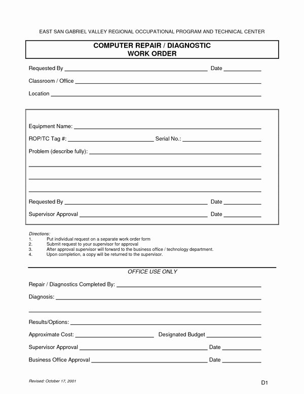 Computer Repair forms Template Beautiful Puter Repair form Sample forms