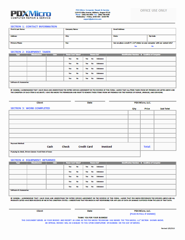 Computer Repair forms Template Best Of Puter Repair form Template
