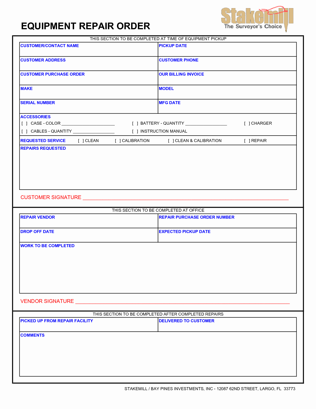 Computer Repair forms Template Lovely Equipment Repair form 10 Features Equipment Repair form