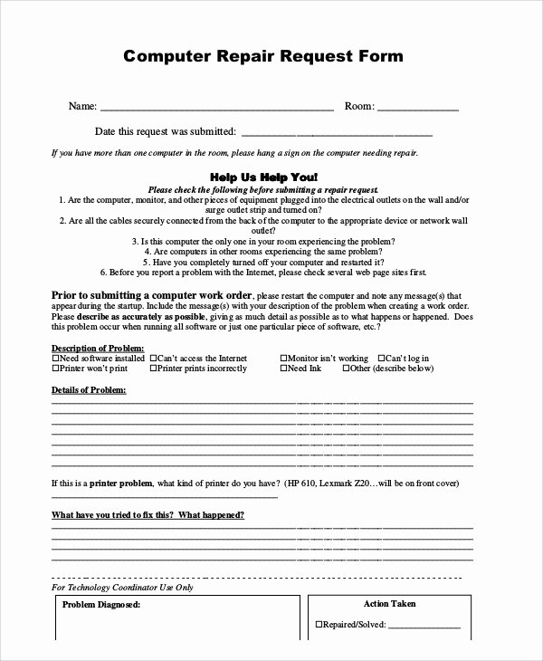 Computer Repair forms Template Luxury 12 Sample Repair Request forms