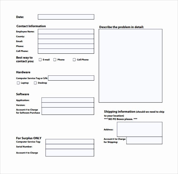 Computer Repair forms Template New 13 Puter Service Request form Templates to Download