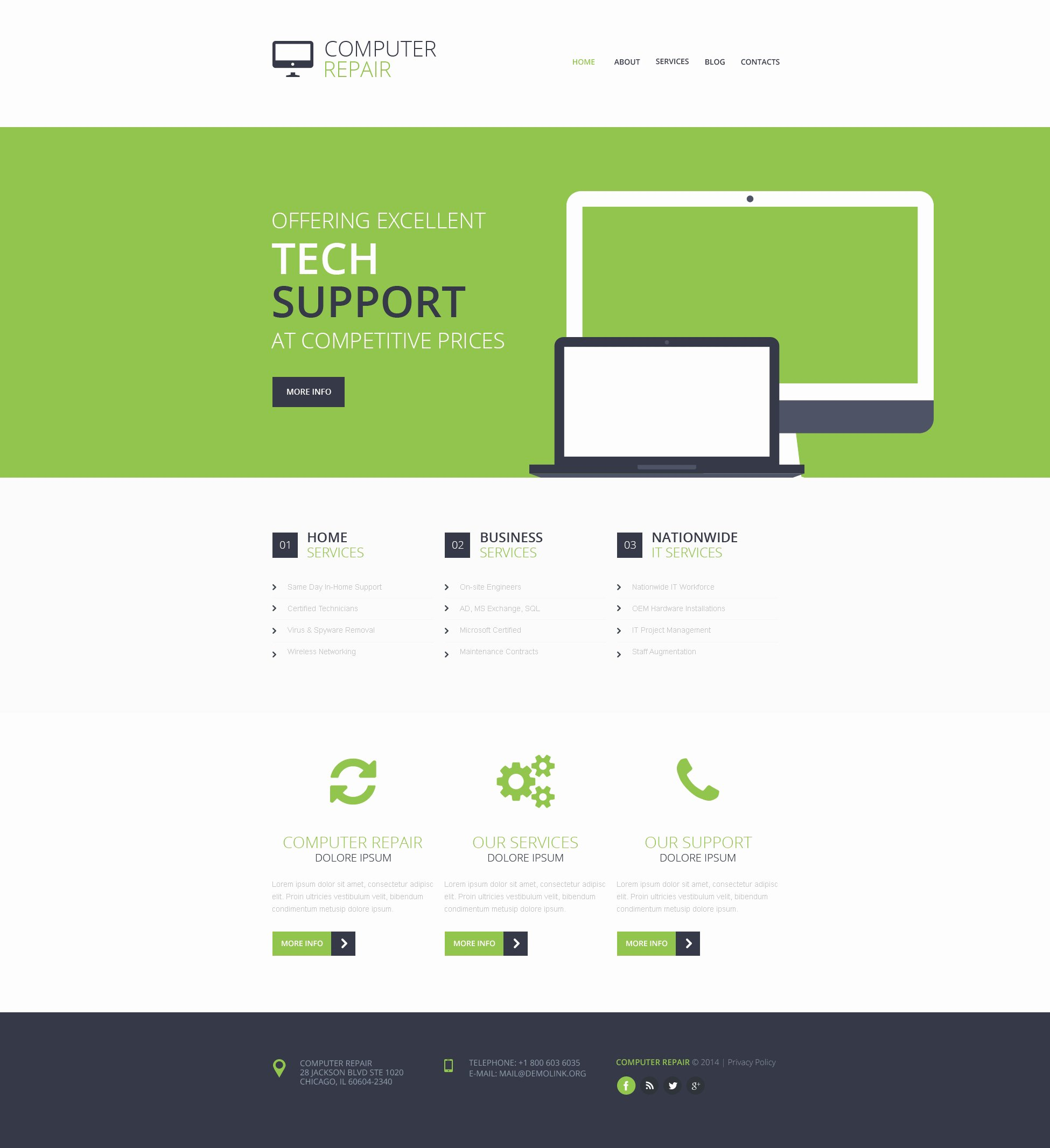 Computer Repair Web Template Awesome Puter Repair Responsive Website Template