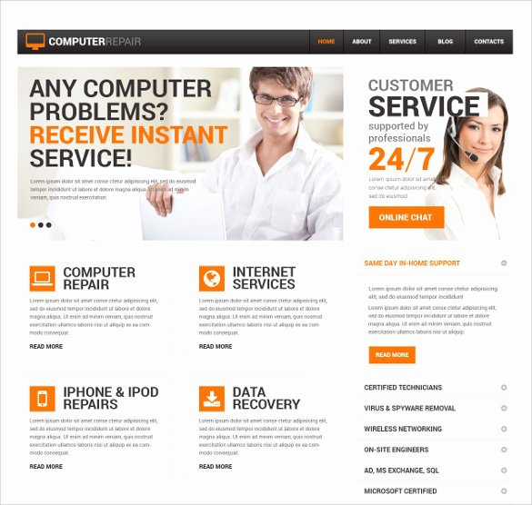 Computer Repair Web Template New 28 Puter Repair Website themes & Templates