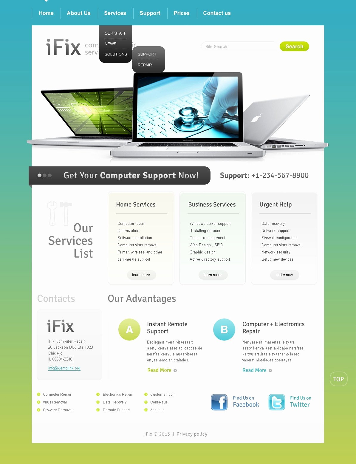 Computer Repair Web Template New Puter Repair Website Template