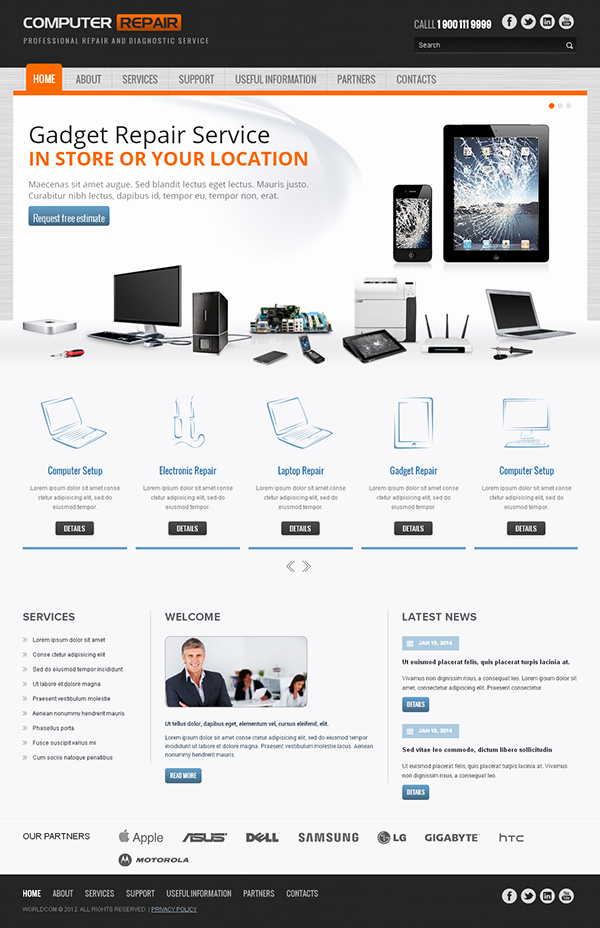 Computer Repair Web Template Unique Puter Repair Responsive Wordpress Template On Behance