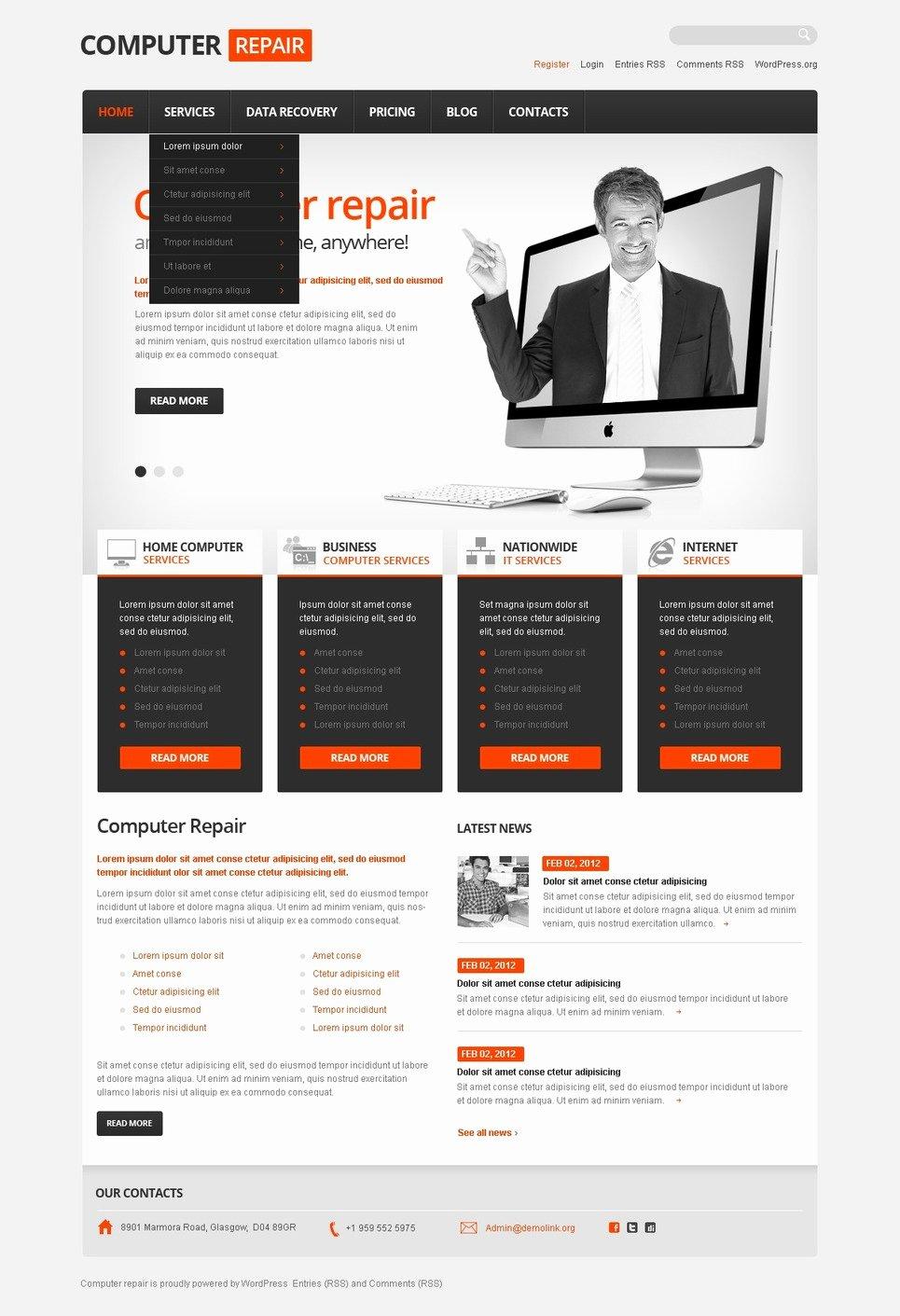 Computer Repair Website Template New Puter Repair Responsive Wordpress theme