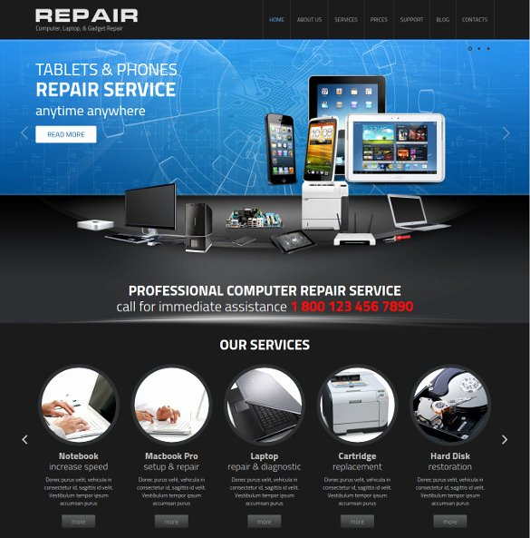 Computer Repairs Website Template New 25 Puter Repair Website themes & Templates