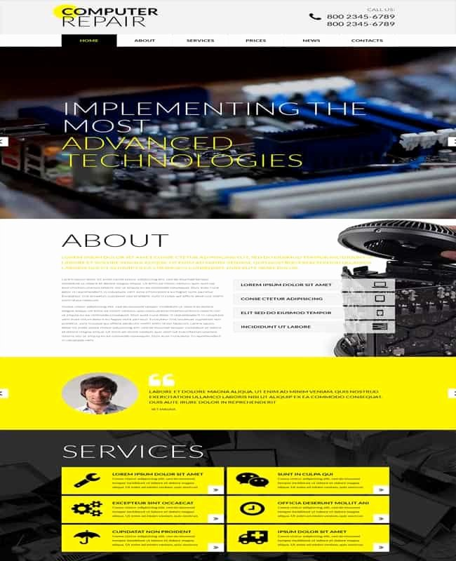 Computer Repairs Website Template New 50 Awesome Technology Website Templates