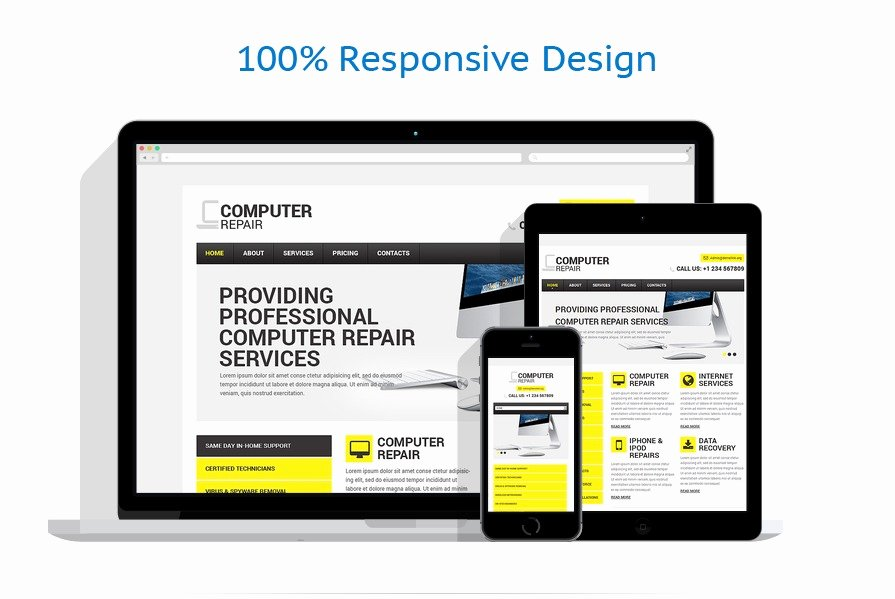 Computer Repairs Website Template Unique Puter Repair Responsive Website Template