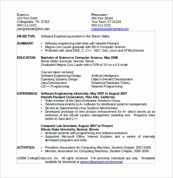 Computer Science Resume Template Awesome Puter Science Resume 11 Download Free Documents In