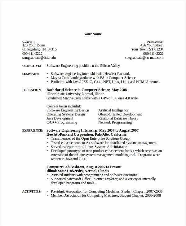 Computer Science Resume Template Beautiful 11 Puter Science Resume Templates Pdf Doc