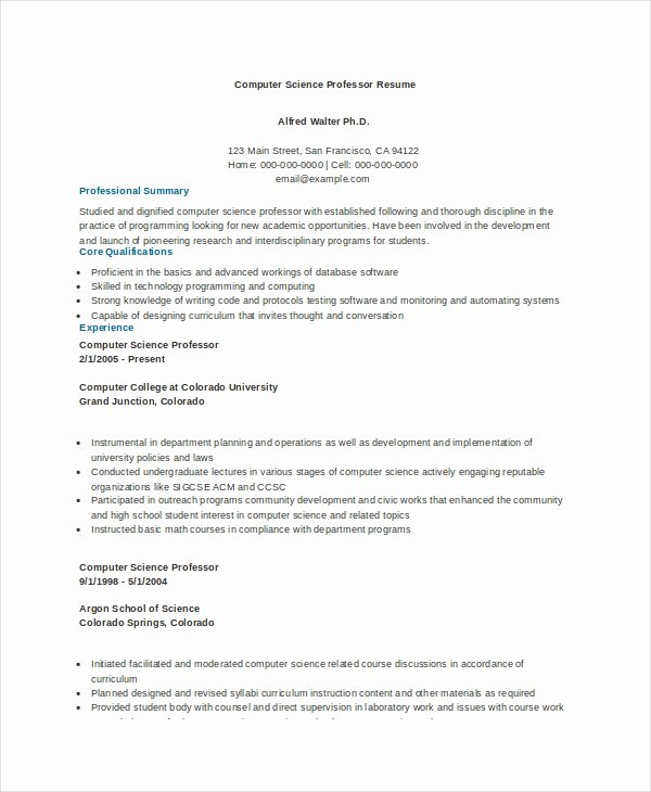 Computer Science Resume Template Beautiful Puter Science Resume Example 9 Free Word Pdf