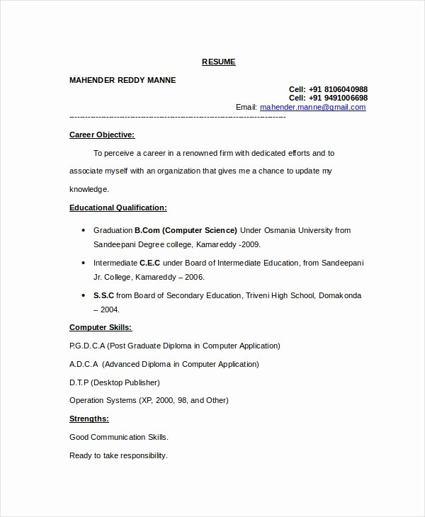 Computer Science Resume Template Best Of 11 Puter Science Resume Templates Pdf Doc