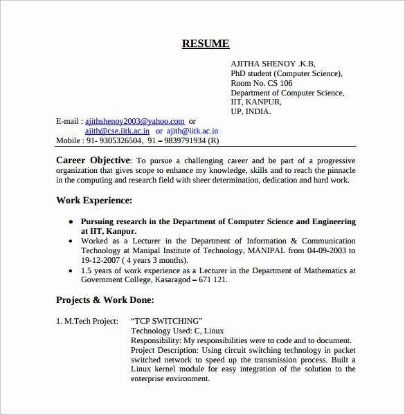 Computer Science Resume Template Best Of 12 Puter Science Resume Templates to Download