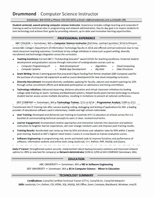 Computer Science Resume Template Best Of Puter Science Resume Sample