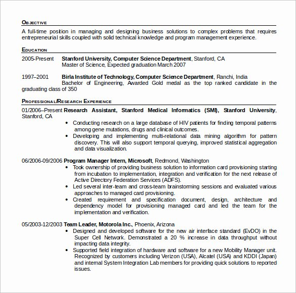 Computer Science Resume Template Fresh 12 Puter Science Resume Templates to Download