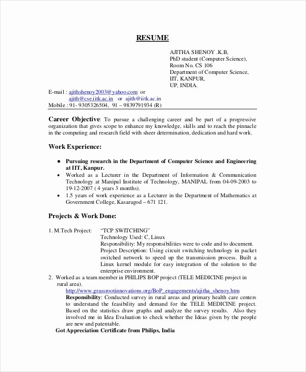 Computer Science Resume Template Fresh Puter Science Resume Example 9 Free Word Pdf