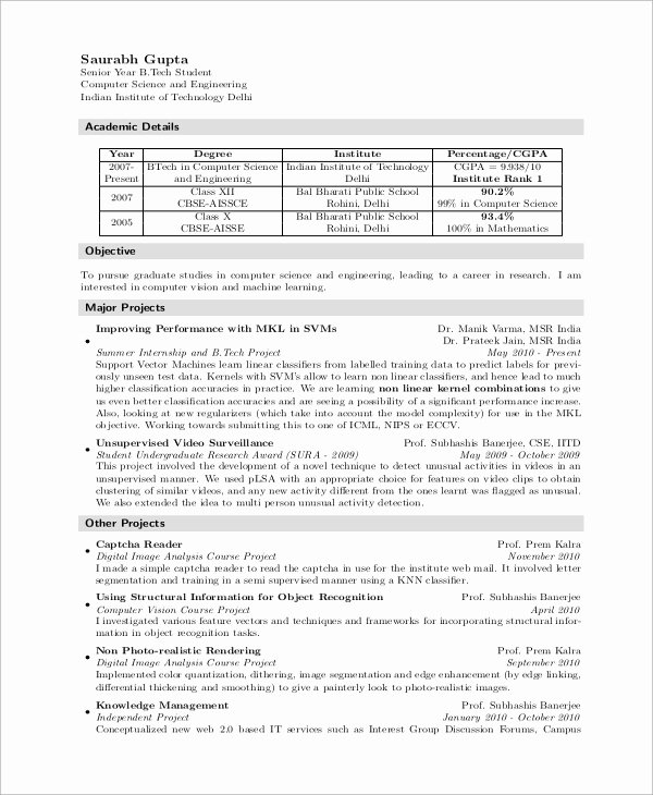 Computer Science Resume Template Inspirational 8 Sample Puter Science Resumes