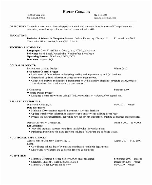Computer Science Resume Template Lovely 11 Puter Science Resume Templates Pdf Doc