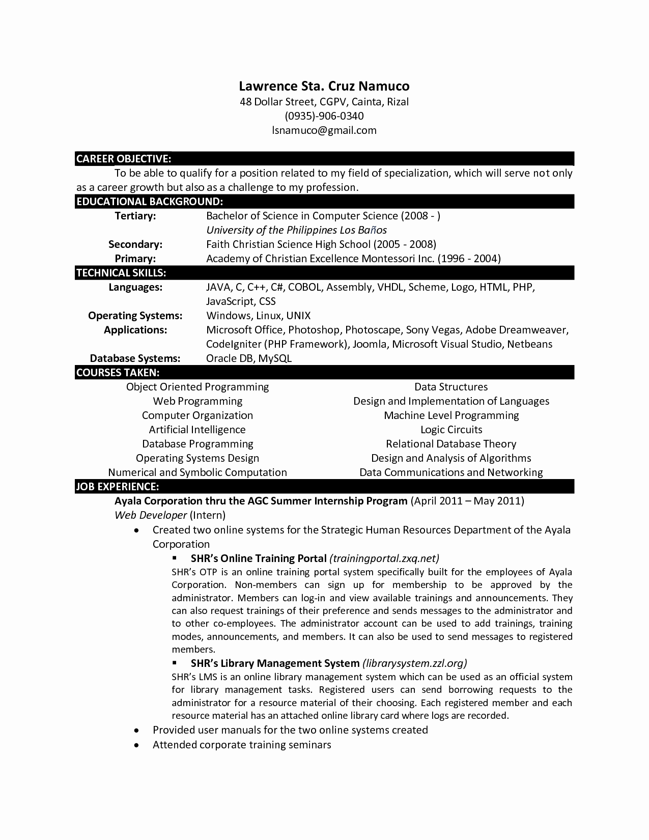 Computer Science Resume Template Lovely Puter Science Resume Templates