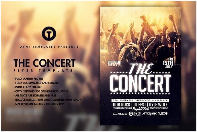 Concert Flyers Template Free Awesome 32 Best Concert Flyer Psd Templates & Designs 2018
