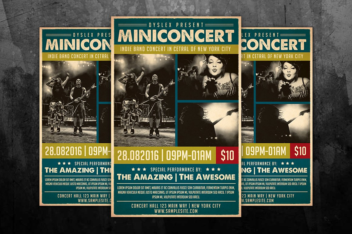 Concert Flyers Template Free Best Of Mini Concert Flyer Flyer Templates On Creative Market