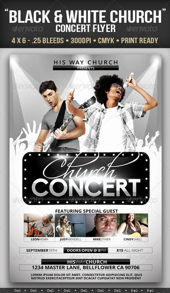 Concert Flyers Template Free Inspirational Black & White Church Concert Flyer by D4g
