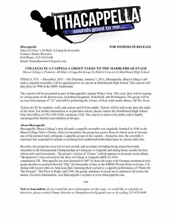 Concert Press Release Template Beautiful Winter tour Press Release