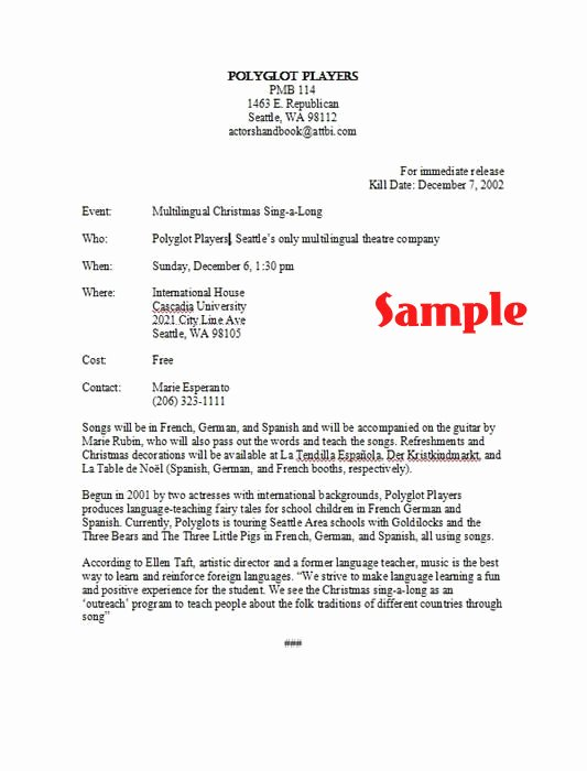 Concert Press Release Template Fresh How to Write A Press Release and Get someone to Pay