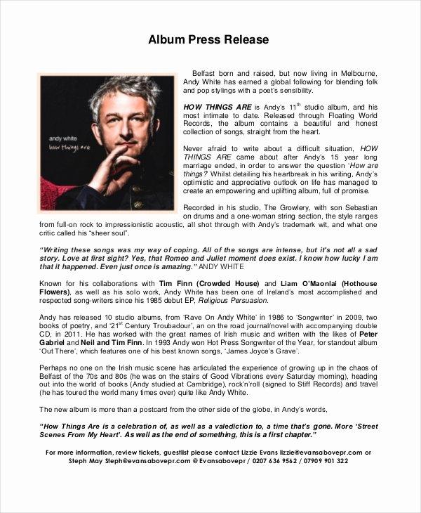 Concert Press Release Template Inspirational 22 Press Release Template Free Sample Example format
