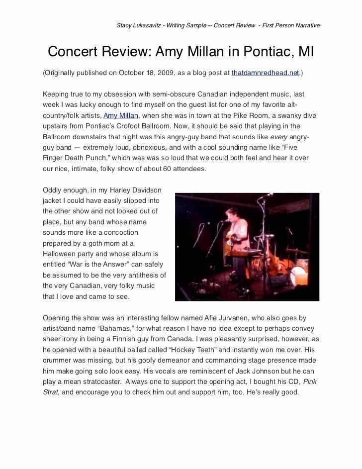 Concert Press Release Template Unique Music Concert Critique Essay