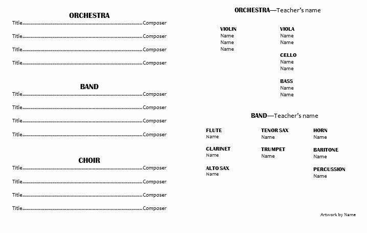 Concert Program Template Free Lovely Teaching Elementary orchestra Template for A Concert