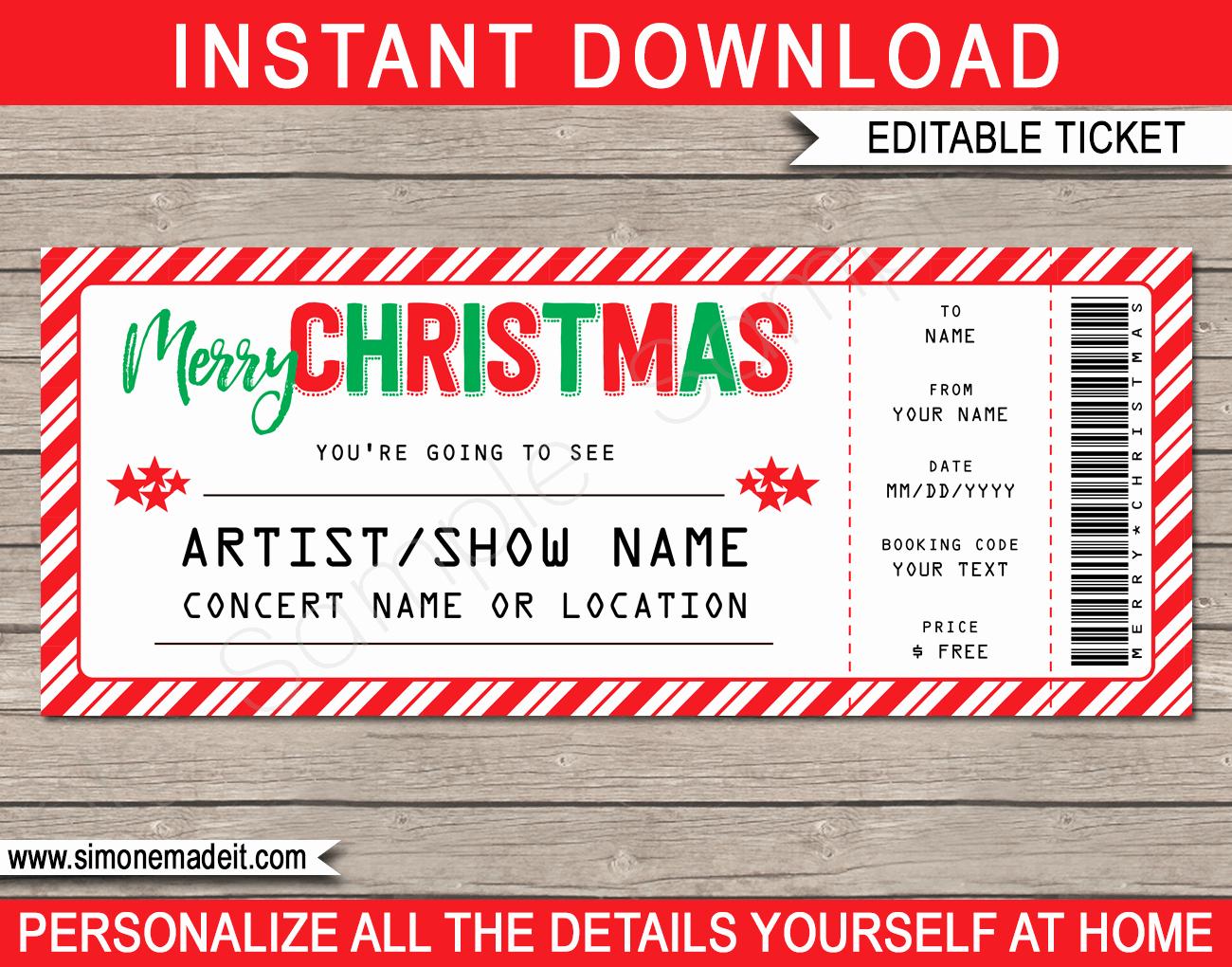 Concert Ticket Template Free Elegant Printable Christmas Gift Concert Ticket Template