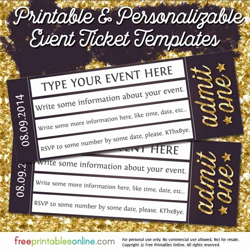 Concert Ticket Template Free Lovely Admit E Gold event Ticket Template Free Printables