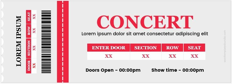 Concert Ticket Template Word Awesome Concert Ticket Templates for Ms Word