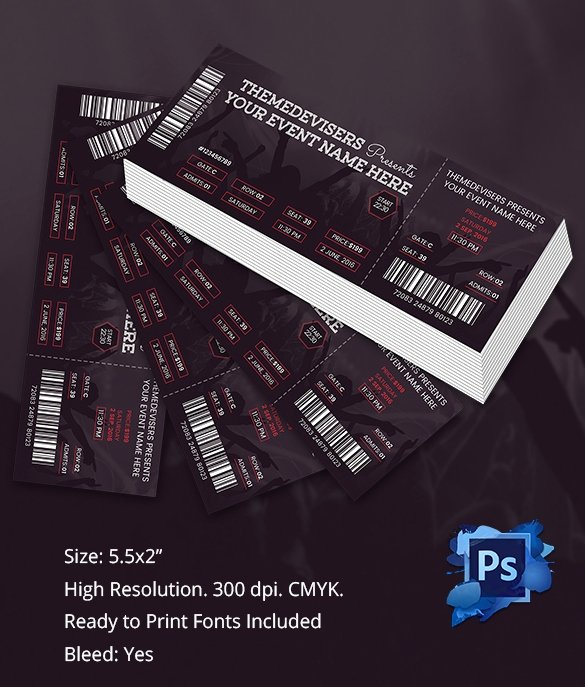 Concert Ticket Template Word Unique Ticket Template – 91 Free Word Excel Pdf Psd Eps
