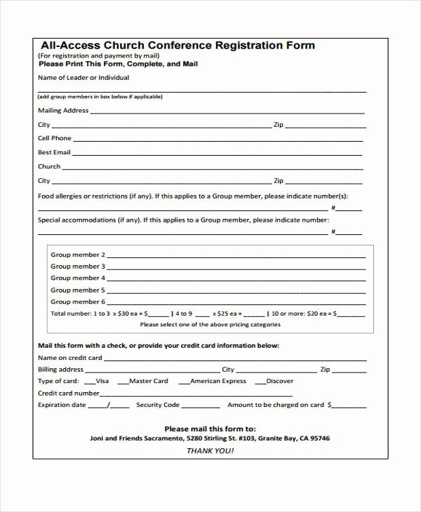 Conference Registration forms Template Beautiful 23 Conference Registration form Templates